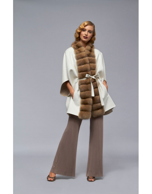 Пальто из кашемира с норкой модель B103