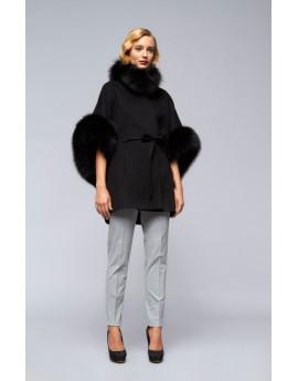 Пальто из кашемира с лисой модель B210