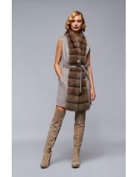 Пальто из кашемира с соболем модель B100