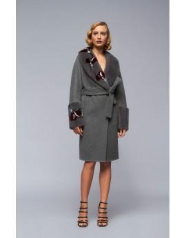 Пальто из кашемира с норкой модель B187