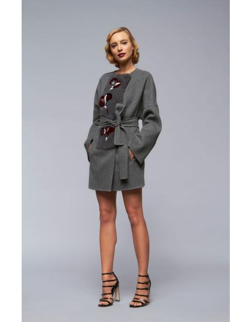 """Пальто из кашемира с норкой, модель """"B188"""""""